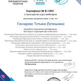 Сертификат об окончании курса вебинаров по актуальным проблемам дошкольного образования «Воспитатели России» № Е-13061